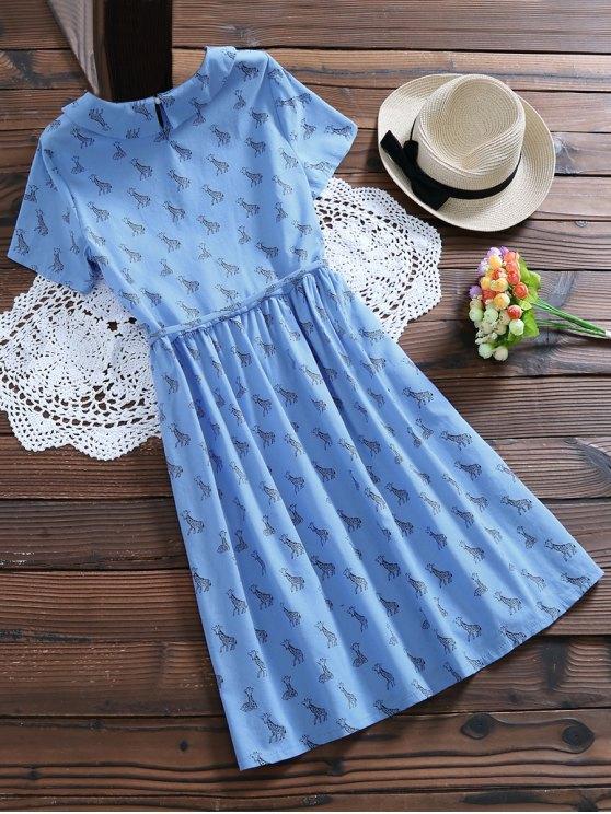 Peter Pan Collar Deer Print Smock Dress - LIGHT BLUE M Mobile