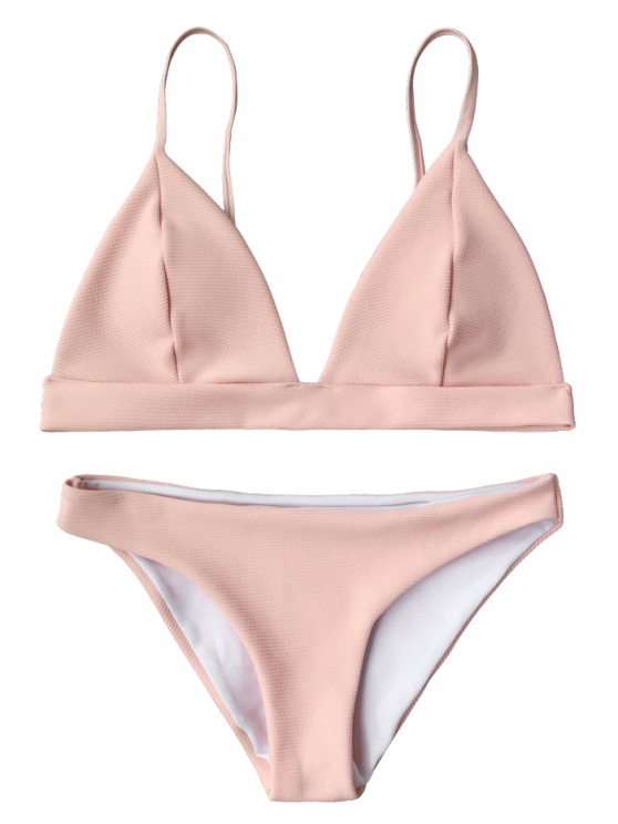 Cami Plunge Bralette Bikini Top and Bottoms - PINK M Mobile