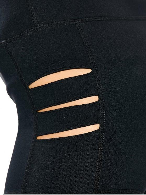 Cut Out Yoga Shorts - BLACK M Mobile