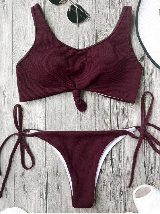 Bikinis bretelles Spaghetti paddé maillot de bain - Bourgogne L