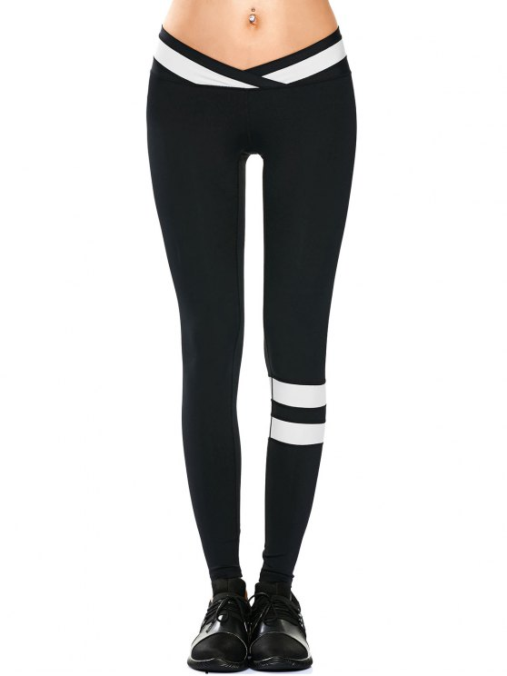 women's Activewear Two Tone Yoga Leggings - BLACK M