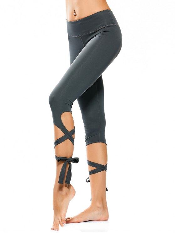 Wrap Hem Capri Yoga Pantalones - Atlantis L