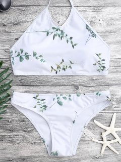 Tie Back Leaf Print Bikini Set - White M