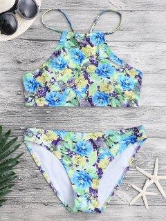 Floral Paisley High Neck Bikini Set - Floral S