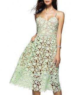 Robe Mi-longue En Crochet Floral à Bretelles Spaghettis - Vert Clair S
