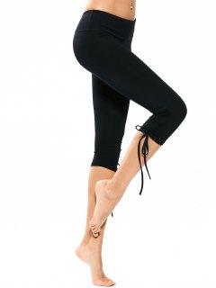 Drawstring Hem Capri Yoga Pants - Black S