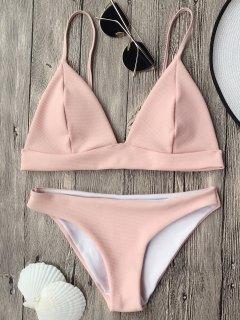 Cami Plunge Bralette Bikini Top And Bottoms - Pink M