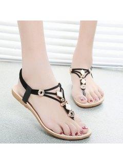 Metal Flat Heel Elastic Band Sandals - Black 39