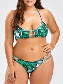 Plus Size Tropical Halter Bikini Set - Green 3xl
