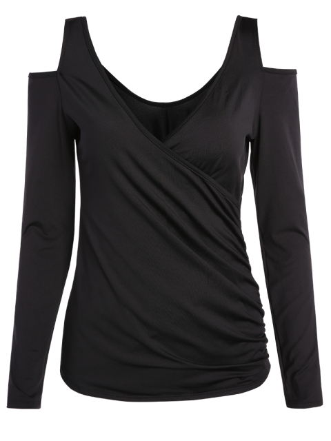 lady Cold Shoulder Ruched T-Shirt - BLACK ONE SIZE Mobile
