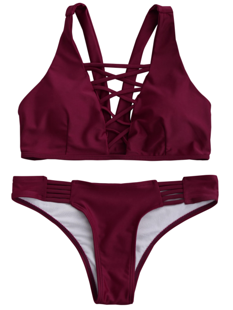 outfits Padded Strappy Front Bikini - WINE RED XL Mobile