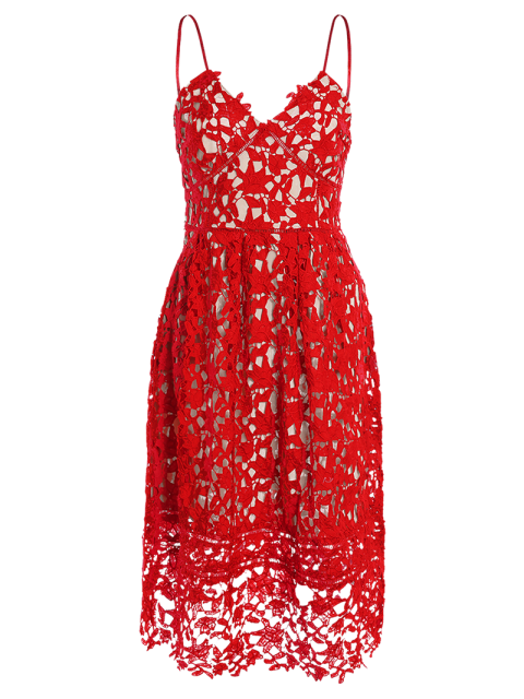 sale Cami Crochet Flower Midi Dress - RED S Mobile