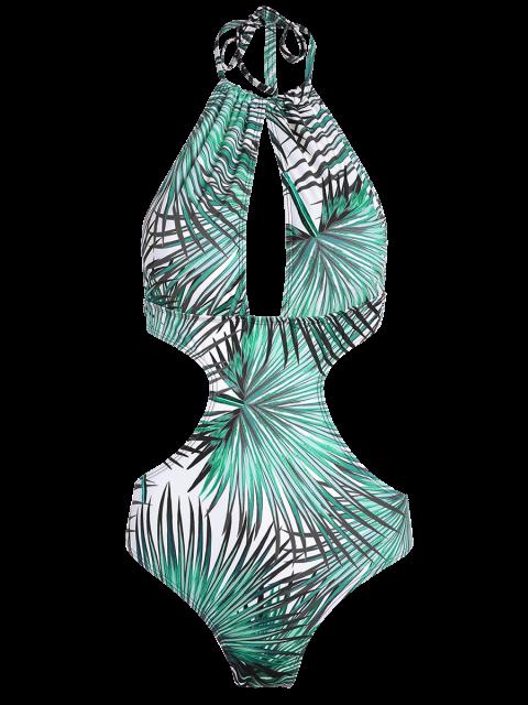 women's Tropical Print One-Piece Swimwear - BLUE XL Mobile