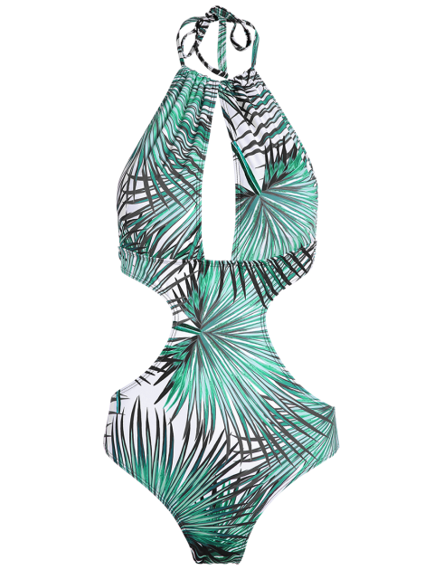 lady Tropical Print One-Piece Swimwear - BLUE M Mobile