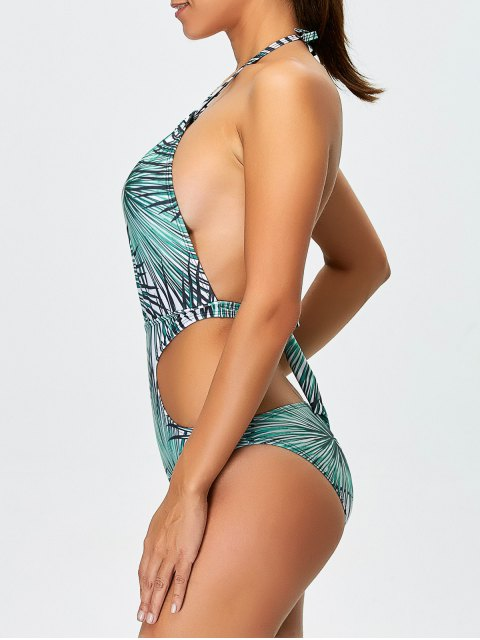 best Tropical Print One-Piece Swimwear - BLUE S Mobile