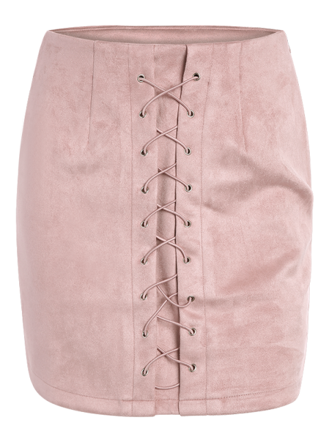 online Lace-Up Bodycon Skirt - PINK L Mobile