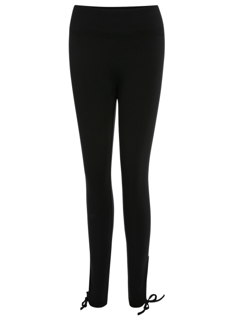 Lace Up Hem Yoga Leggings - Noir M Mobile