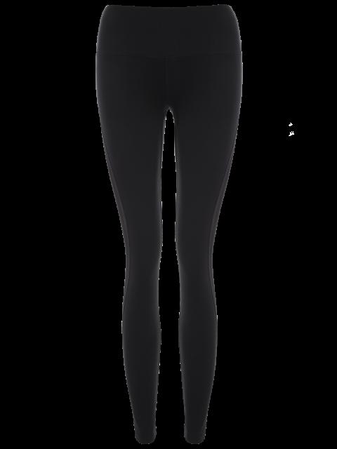 women Mesh Panel See Thru Yoga Leggings - BLACK XL Mobile