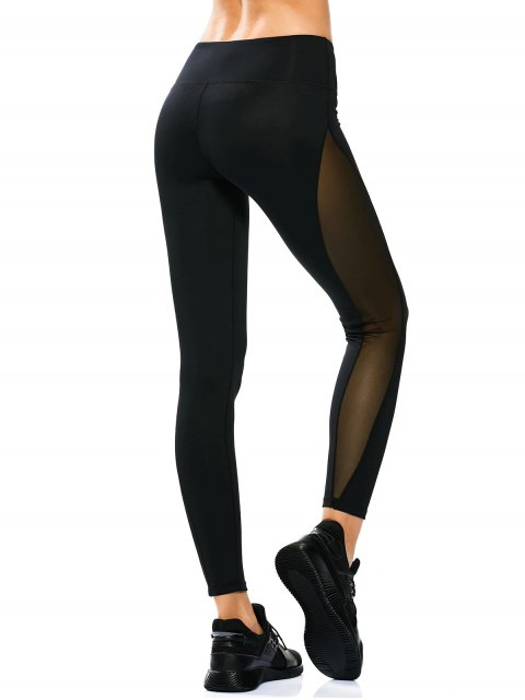 Leggings Yoga Transparent à Panneau de Maille - Noir S Mobile