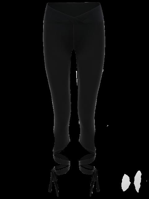 best Skinny Wrap Hem Yoga Capri Leggings - BLACK XL Mobile