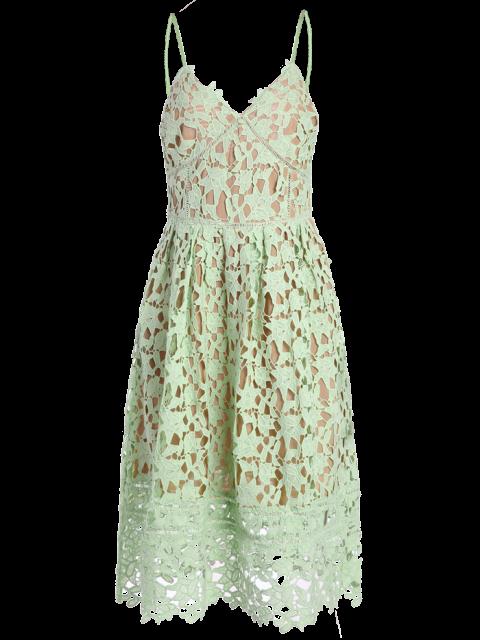 women's Cami Crochet Flower Midi Dress - LIGHT GREEN M Mobile