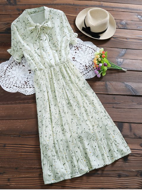 outfits Pussy Bow Tie Floral Pleated Dress - OFF-WHITE S Mobile