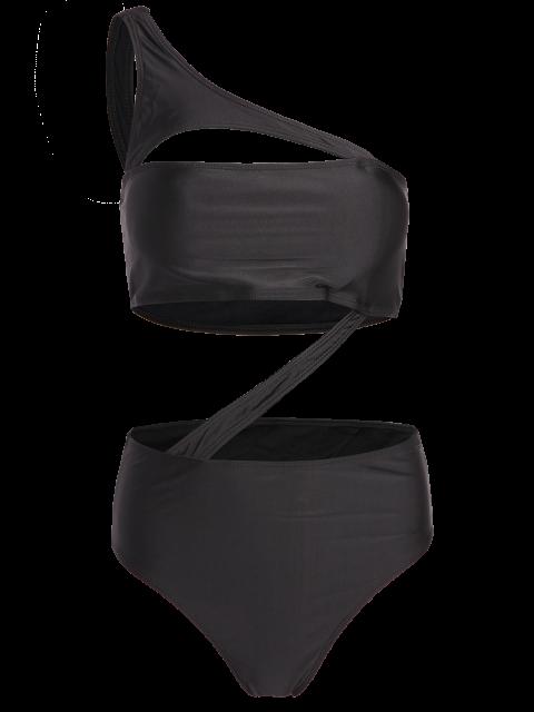 shops One Shoulder Bandage One Piece Swimwear - BLACK L Mobile