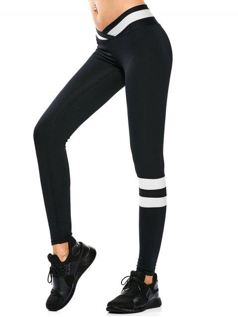 women Activewear Two Tone Yoga Leggings - BLACK L Mobile