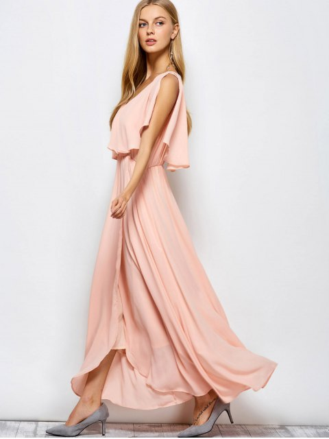 womens Ruffles Plunge Neck Popover Maxi Dress - PINK L Mobile