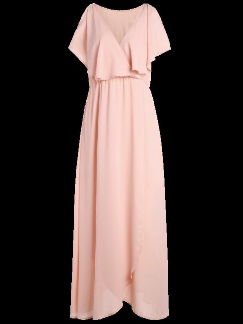 women Ruffles Plunge Neck Popover Maxi Dress - PINK M Mobile