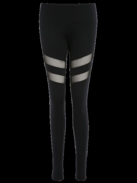 fashion See Through Mesh Panel Sporty Leggings - BLACK XS Mobile