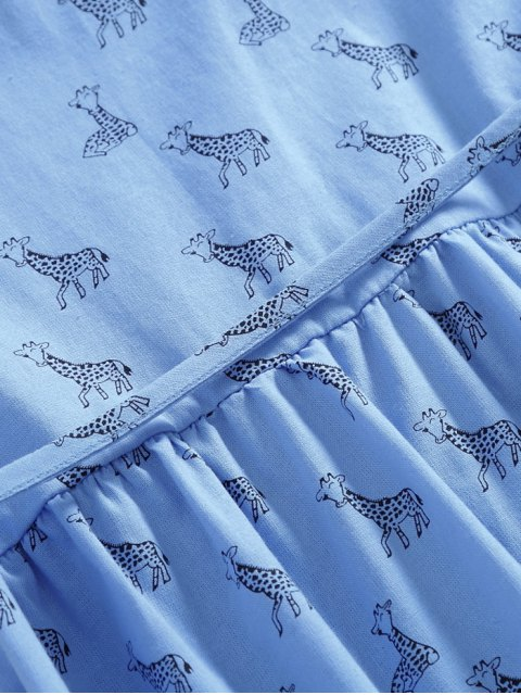 fancy Peter Pan Collar Deer Print Smock Dress - LIGHT BLUE M Mobile