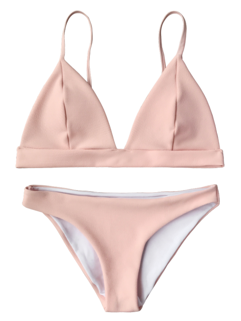 buy Cami Plunge Bralette Bikini Top and Bottoms - PINK L Mobile