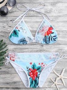 Lace Tropical Print Plunge Bikini Set - Blue S
