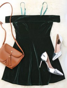 Slip Cold Shoulder Velvet Dress