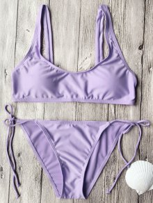 Tie Side String Scoop Neck Bikini Set - Purple M