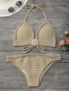 Halter Seashell Crochet Bikini Set