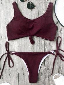 Cami Bralette String Bikini Set - Burgundy
