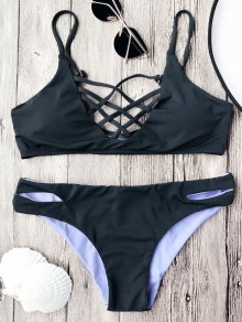 Lattice Front Cami Bralette Bikini Set - Black M