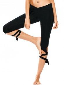 Skinny Wrap Hem Yoga Capri Leggings - Black S