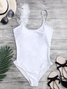 3D Floral Asymmetric One Piece Swimsuit - White