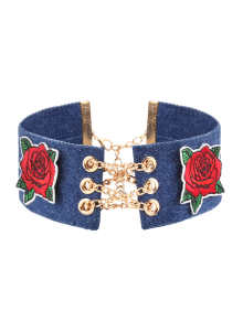 Denim Alloy Chain Embroidery Flower Choker Necklace