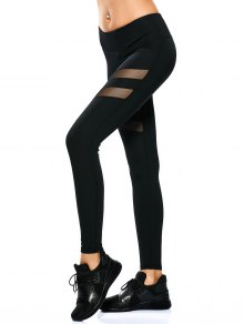 See Through Mesh Panel Sporty Leggings - Black Xs