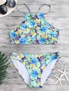 Floral Paisley High Neck Bikini Set
