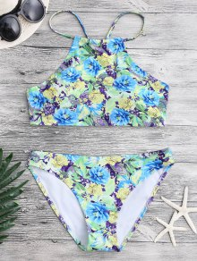 Floral Paisley High Neck Bikini Set