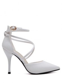 Faux Leather Cross Straps Mini Heel Pumps - White 37