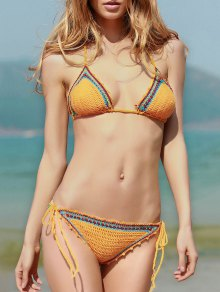 Spaghetti Strap Lace Up Crochet Bathing Suit