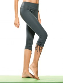 Drawstring Hem Capri Yoga Pants