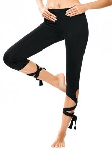 Wrap Hem Capri Yoga Pants - Black