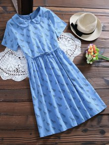 Peter Pan Collar Deer Print Smock Dress - Light Blue L